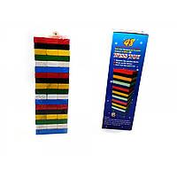 """Игра настольная """"Дженга"""" цветная с кубиком 54 бруска 22х7,5х7,5см  (32374)"""