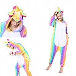Пижама кигуруми Взрослые и Детские Единорог Разноцвтный