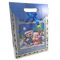 "Пакет подарочный картонный ""Новогодний"" 15х20х6см  (32228)"