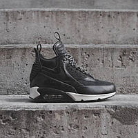 "Зимние кроссовки Nike Air Max 90 Sneakerboot ""Black/White"" (Черные/Белые), фото 1"