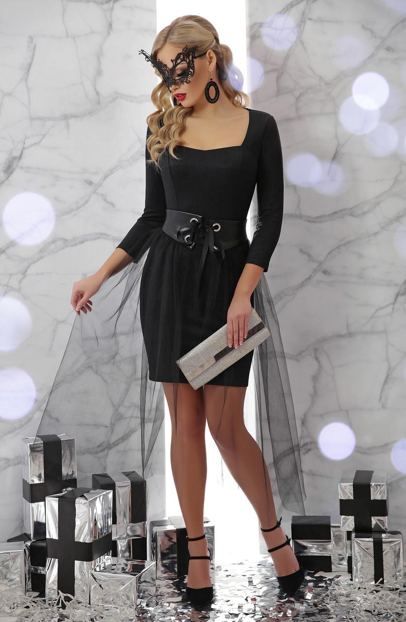 Оригинальное вечернее платье  с юбкой из фатина Размеры S M L