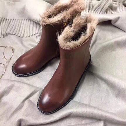 Женские зимние ботинки коричневые натуральная кожа. В Украине!, фото 2