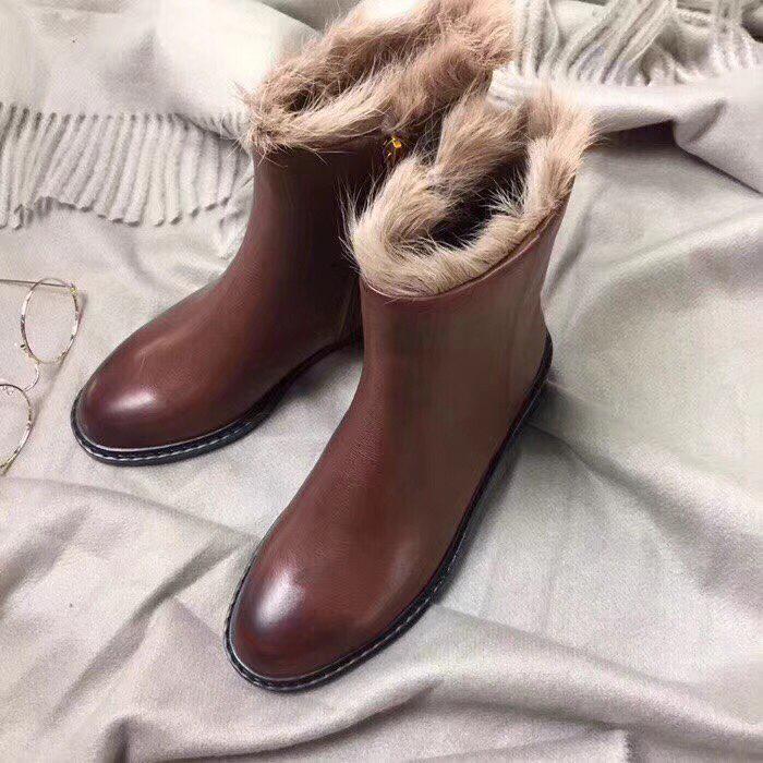 Женские зимние ботинки коричневые натуральная кожа. В Украине!