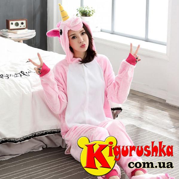 Костюм Единорог для взрослых радужный розовый (пастель) кигуруми -  Интернет-магазин