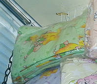 Защита для детской кроватки салатовая Мишки на Луне