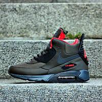 "Зимние кроссовки Nike Air Max 90 Sneakerboot ""Dark Lodan"" (Зеленые) (реплика А+++ ), фото 1"