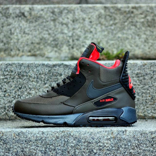 "Зимние кроссовки Nike Air Max 90 Sneakerboot ""Dark Lodan"" (Зеленые) (реплика А+++ )"