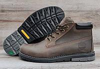 Мужские коричневые зимние ботинки Timberland. Натуральная кожа и мех.