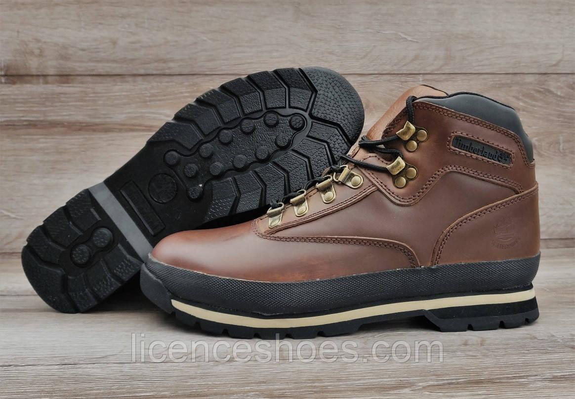 Чоловічі коричневі черевики Timberland WATERPROOF. Натуральна шкіра та хутро.