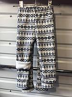 """Лосины детские """"Зимний узор"""" на меху, 92-116, серый+белый"""
