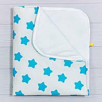 Непромокаемая пеленка BabySoon Бирюзовые звезды 70 х 80 см (0643), фото 1