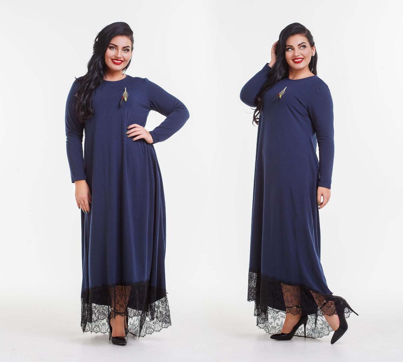 """Тепле стильне жіноче плаття на флісі у великих розмірах 15-137""""Асиметрія Максі Мереживо Брошка"""" в кольорах"""