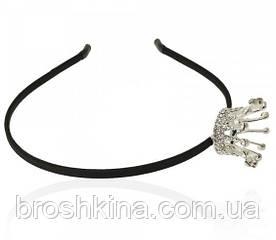 Обруч з короною в стразах метал під срібло
