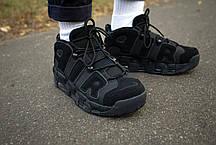 Кросівки чоловічі Найк Air More Uptempo Black верх з нубука повністю прострочені Репліка, фото 3