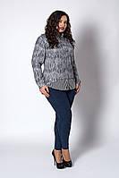 Женская кофта с рубашкой обманкой серая в полоску, фото 1