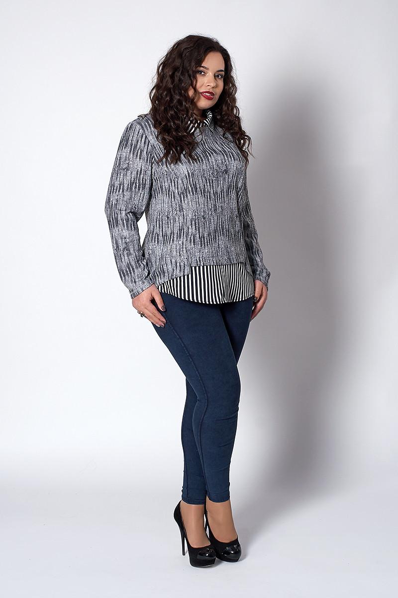 Женская кофта с рубашкой обманкой серая в полоску