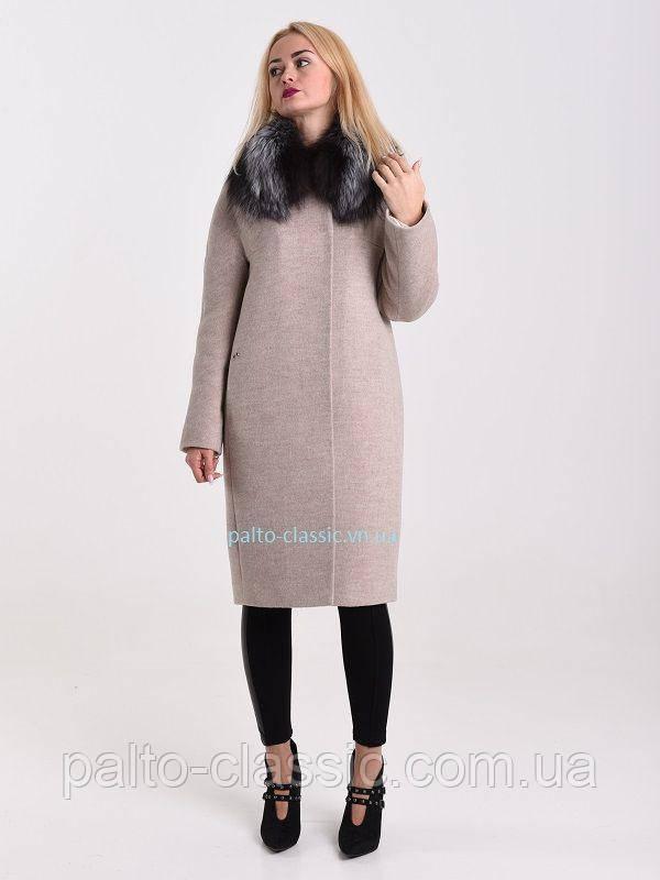 843a0d96d51 Женское пальто Albanto p-282 1-17 1 с натуральным мехом чернобурки ...