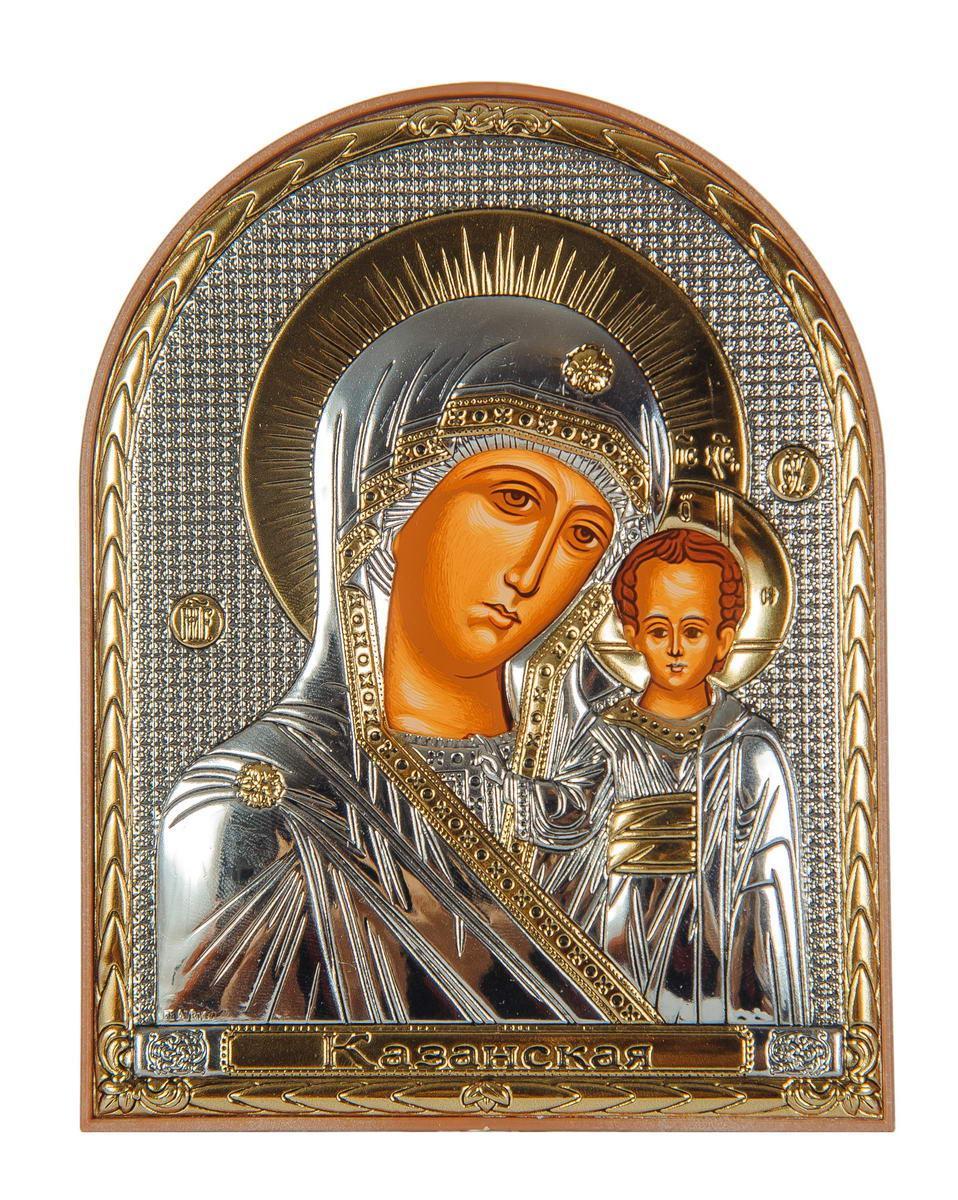 Икона серебряная Казанская Божья Матерь 12х 15,5 см на пластиковой основе Греция