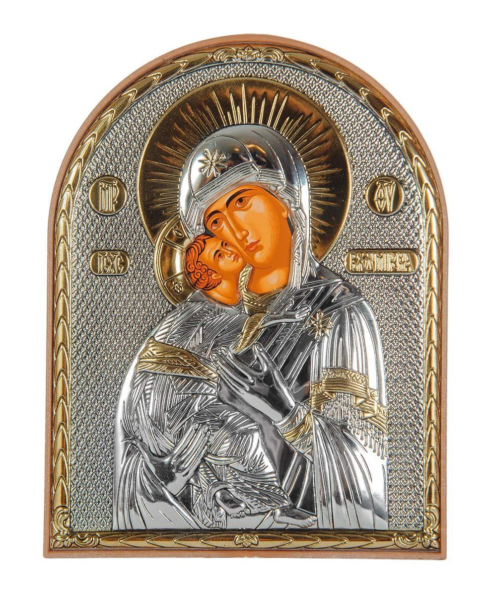 Икона серебряная Владимирская Божья Матерь 12 x 15,5 см на пластиковой основе  Греция