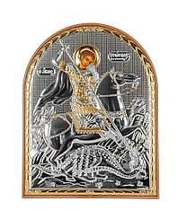 """Икона серебряная """"Георгий Победоносец"""" на пластиковой основе 120х155мм ( Греция )"""