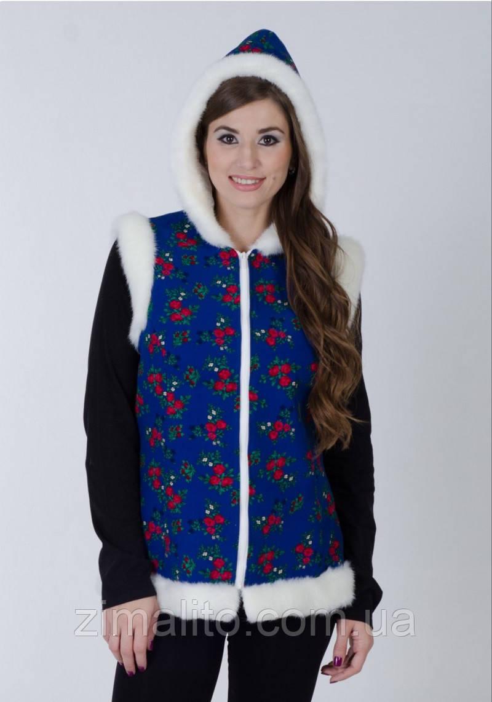 Рождественский жилет синий с капюшоном XL