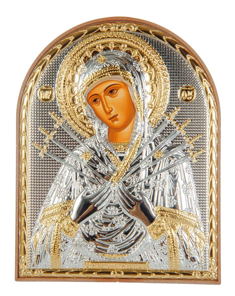 Икона серебряная Семистрельная Божья Матерь 12 x 15,5 см на пластиковой основе ( Греция )