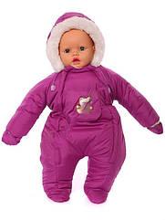 Зимний комбинезон для новорожденных (0-6 месяцев) темно-малиновый