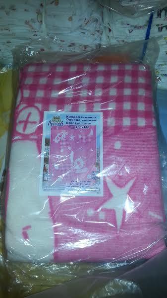 Одеяло розовое детское 100% хлопок, 100-140 см