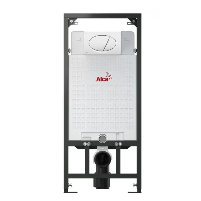 Скрытая система инсталляции, 1120x150x520 для гипсокартона в комплекте с белой кнопкой Alca Plast