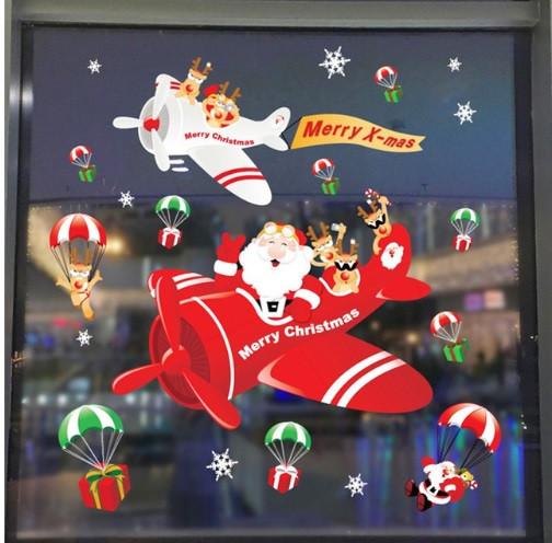 """Силиконовая новогодняя наклейка """"Санта Клаус в самолете"""" - (2 листа размером 35*50см)"""
