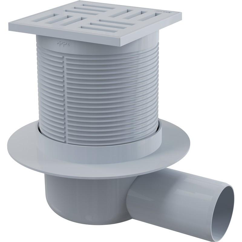 Сливной трап 105x105/50, подводка–боковая, решетка–серая, гидрозатвор–мокрый Alca Plast