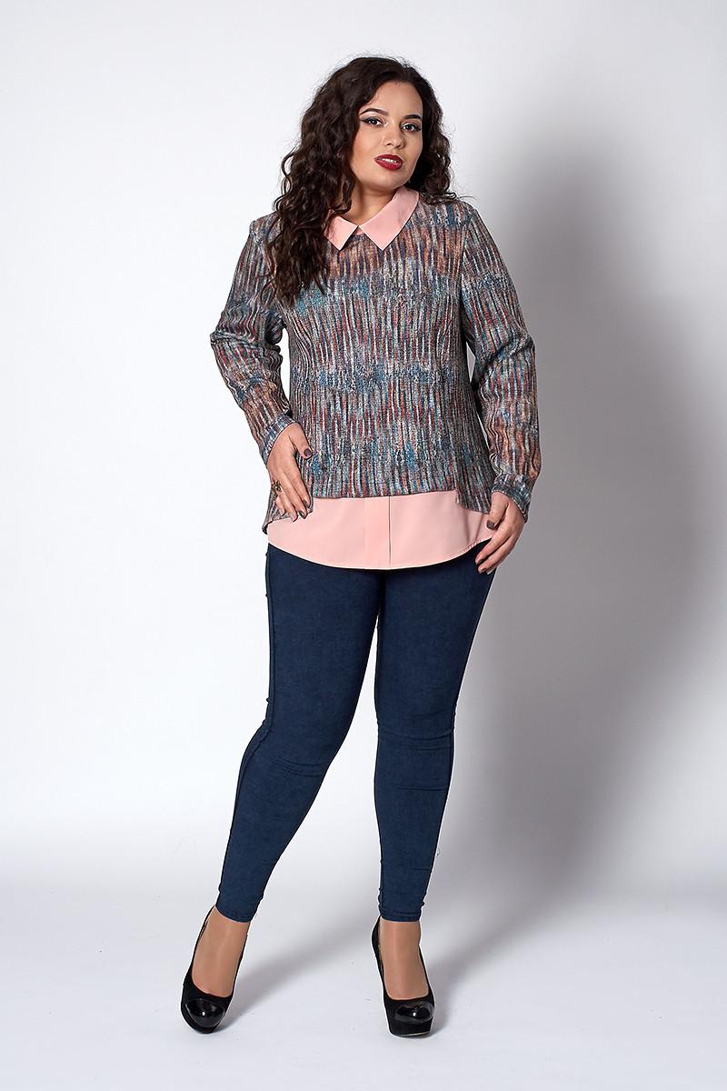 Стильная женская кофта рубашка меланж с персиком