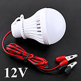 Лампа 12 Вольт 5 Вт с «крокодилами» для туризма, фото 4