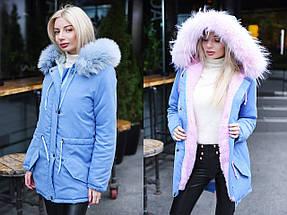 """Теплая женская куртка-парка """"LUKI"""" с искусственным мехом (большие размеры), фото 3"""