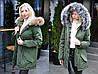 """Теплая женская куртка-парка """"LUKI"""" с искусственным мехом (большие размеры)"""