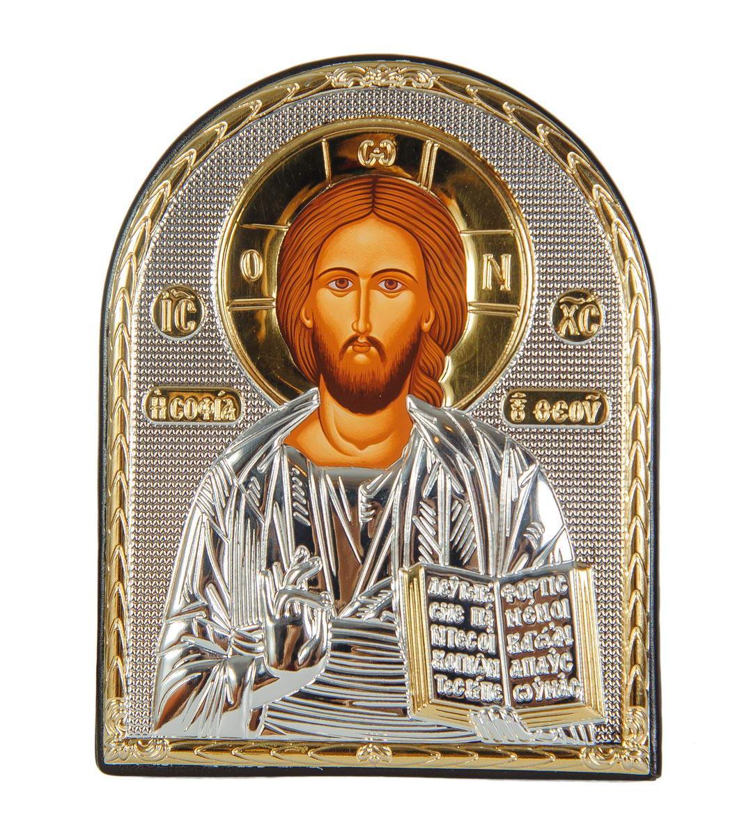 """Икона """"Спаситель"""" серебряный оклад в кожаной оправе 165х215мм"""
