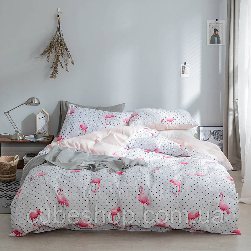 """Комплект постельного белья """"Фламинго с горошком"""" (двуспальный-евро)"""