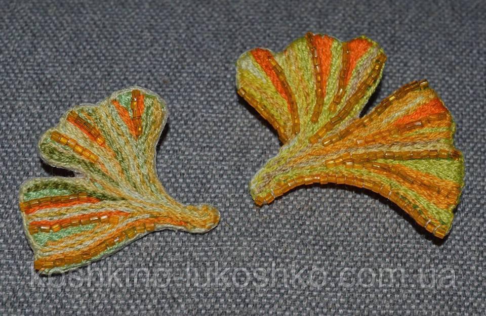 Парные броши листья гинго