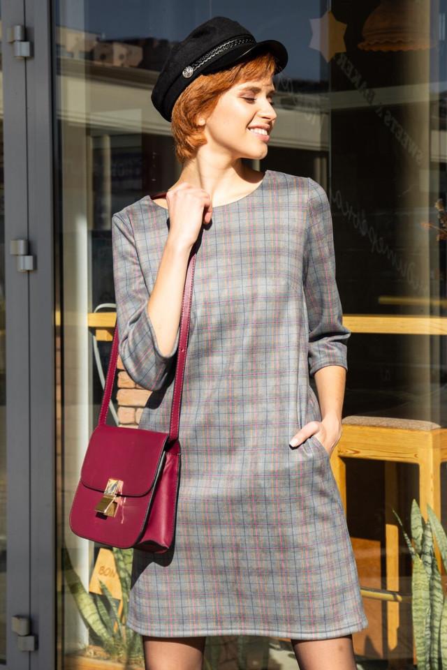3879f0f787b Стильное женское платье Роксана в серую клетку  продажа