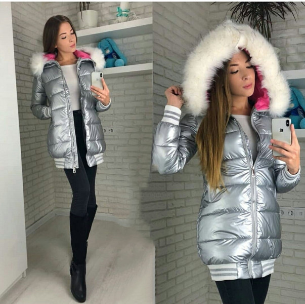 Хит сезона! Зимняя куртка подростковая для девочки,пуховик серебристая.