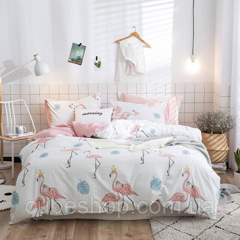 """Комплект постельного белья """"Королевский фламинго"""" (двуспальный-евро)"""