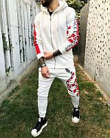 Мужской спортивный костюм зимний белый с красным