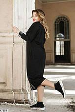 Демисезонное женское трикотажное платье черное в полоску размеры: 48-50, 52-54, фото 2