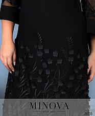 Нарядное вечернее черное платье размеры батальные: 48-62, фото 2