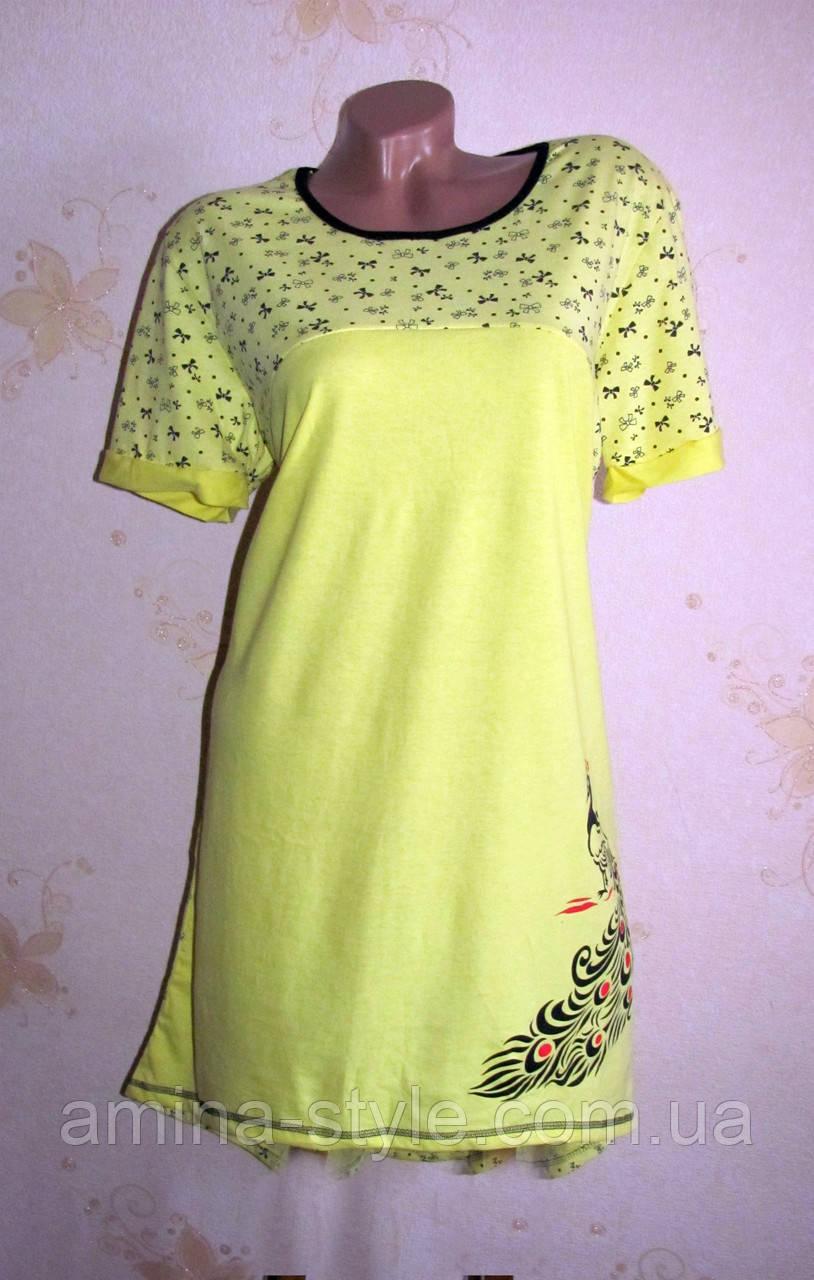 Женская ночная рубашка туника, хлопок 52-54