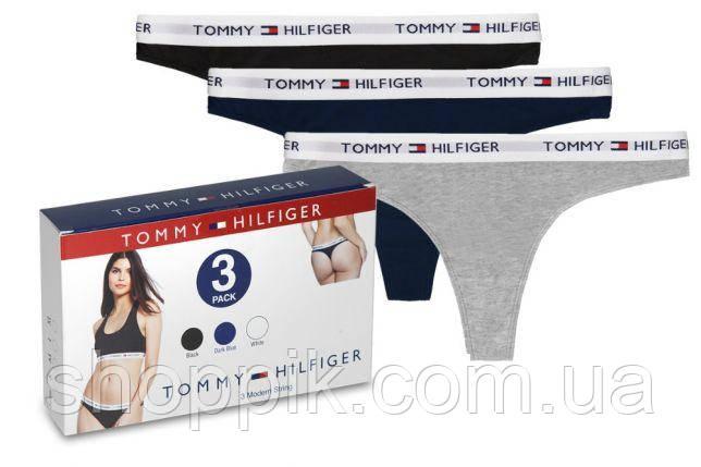 Женское белье Tommy Hilfiger трусики стринги 3 шт. в упаковке  Реплика