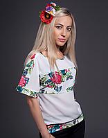Купить кофточку с имитацией вышивки красные розы на белом   Купити кофточку з імітацією вишивки червоні