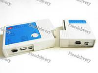 Тестер сети RJ45, RJ11, USB, BNC, Firewire Кабеля, фото 1