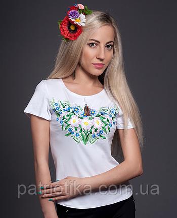 Вышитая футболка полевые цветы 2 | Вишита футболка польові квіти 2, фото 2