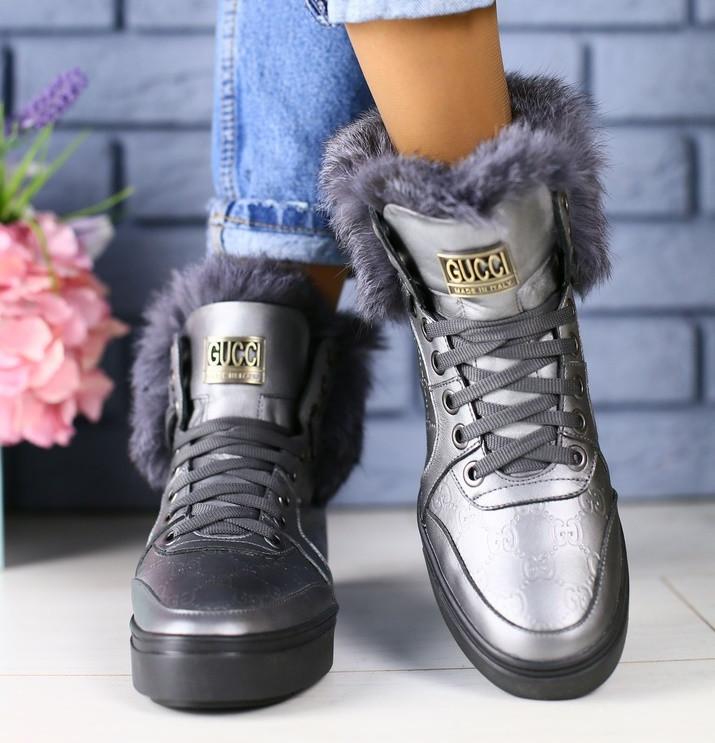 1536bbd77 Модные зимние женские ботинки кожа полусапожки зима угги на высокой подошве  с натуральной опушкой TI41KS32-